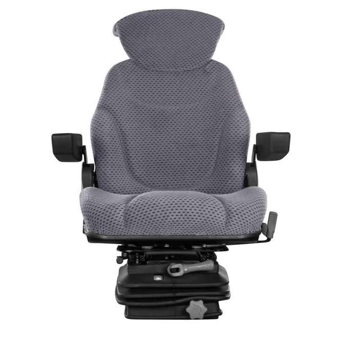 Schleppersitz | mechanische Federung | grau | inkl. Rückenverlängerung & Armlehnen