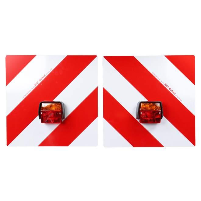 Warntafelsatz mit Leuchten | komplett verkabelt | 5 Meter Anschlusskabel | 3,5 Meter Zwischenkabel | mit Halterung für Winkeleisen